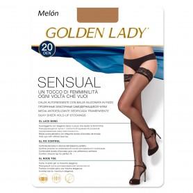 Medias con Encaje  Sexy en Color Carne Melón SENSUAL 20 DEN GOLDEN LADY