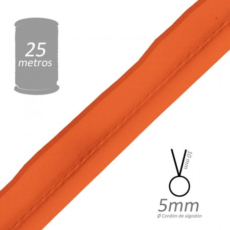 Vivo Naranja con cordón de algodón 5 mm batista Byetsa