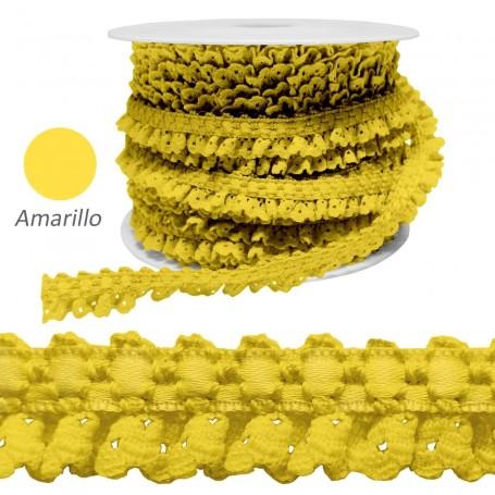Encaje Fruncido Amarillo. Trajes y complementos. Rollos 25 metros.