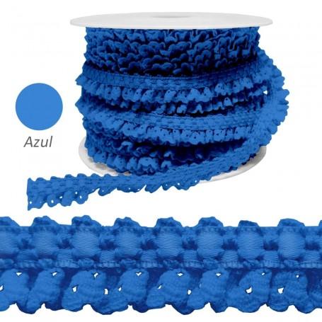 Encaje Fruncido Azul. Trajes y complementos. Rollos 25 metros.