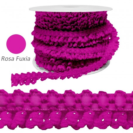Encaje Fruncido Rosa Fuxia