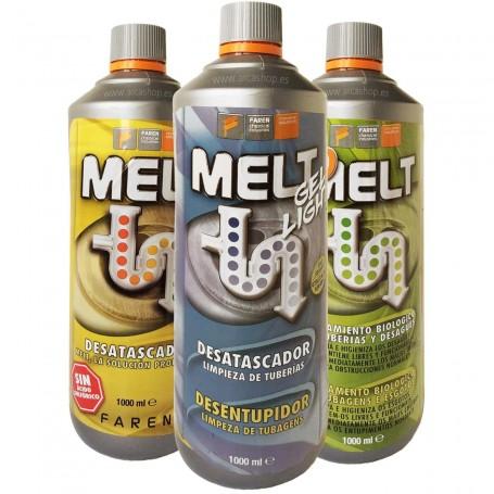 BioMelt, Melt gel light y Desatascador Melt sin ácido sulfúrico. Tratamiento para tuberias y atascos en tuberias y desagües.