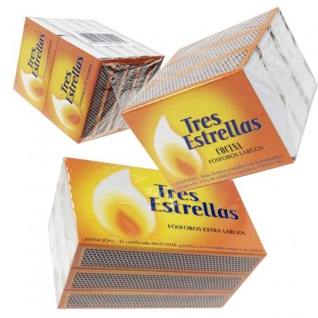 Cajita Cerillas bolsillo fumador Fósforos Las Tres Estrellas