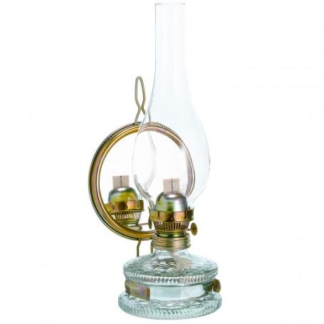 Lámpara de queroseno Mars con chimenea de vidrio y espejo reflector.
