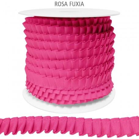 ROSA FUXIA Cinta de Falla Plisada 14 mm Poliester.