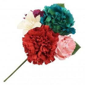 Ramillete varias flores flamenca en rojo, rosa claro, azul agua verde, marfil y buganvilla.