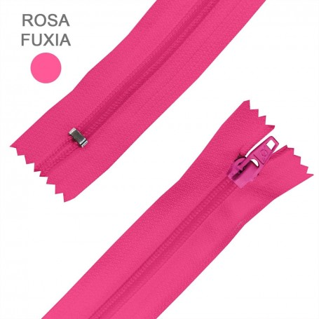 Cremallera Flamenca ROSA FUXIA FUCSIA 50 cm, 60 cm, 70 cm y 80 cm. Dentado Nylon 5 mm - Ancho Cremallera 32 mm