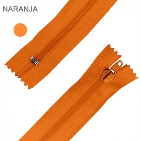 Cremallera Flamenca NARANJA 50 cm, 60 cm, 70 cm y 80 cm. Dentado Nylon 5 mm - Ancho Cremallera 32 mm