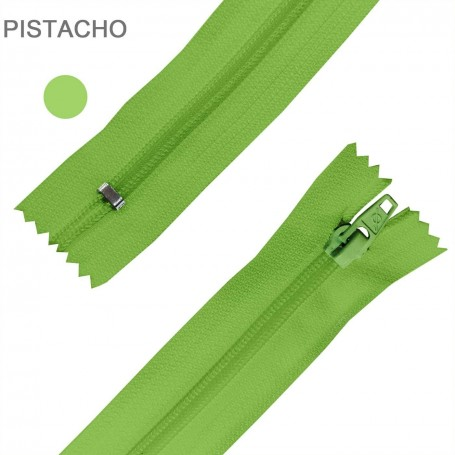 Cremallera Flamenca PISTACHO VERDE 50 cm, 60 cm, 70 cm y 80 cm. Dentado Nylon 5 mm - Ancho Cremallera 32 mm