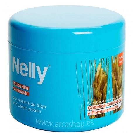 Mascarilla Cabellos dañados Nelly con siliconas, filtro solar y proteínas de trigo. Protege, Desenreda, suaviza y repara.