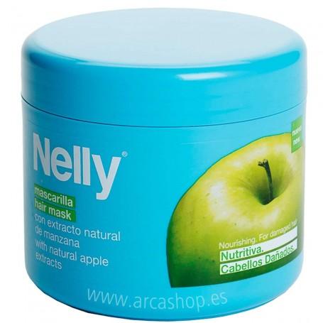 Mascarilla Cabellos secos Nelly. Acabado sedoso e hidratado, desenreda. Extractos de manzana, aguacate y keratina.