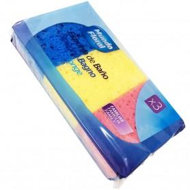 Esponja de baño Mundo Floral uso familiar 3 esponja: amarilla, azul y magenta.