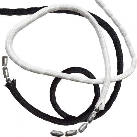 Cordón NEGRO Y BLANCO con Plomo 50 grs peso/metro 3mm diámetro.
