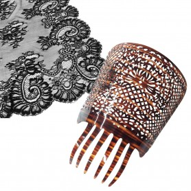 Mantilla 220x100 cm. Mantilla Negra Tradicional Bordada en tul Negra modelo 164 Semana Santa