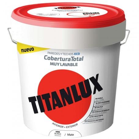 Comprar Titanlux Cobertura Total Pintura Plástica Vinílica Blanco Mate Interior/Exterior techos y paredes Eco