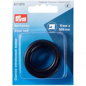 Correa de transmisión para máquinas de coser de 5 mm x 300 mm, Ø 100 mm. Caucho negro resistente y elástico.