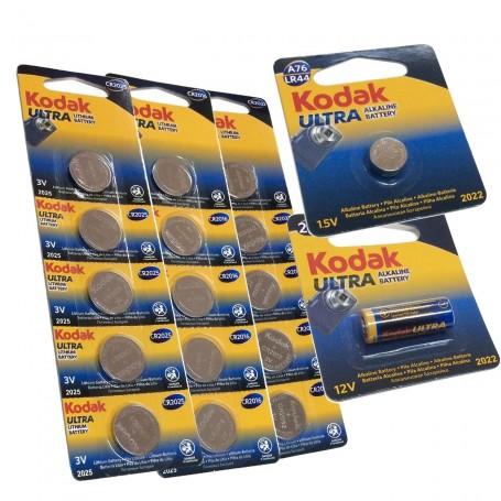 Pilas de Botón Kodak Ultra Litio (CR2032, CR2025 y CR2016) y Alcalinas (23A y A76/LR44)