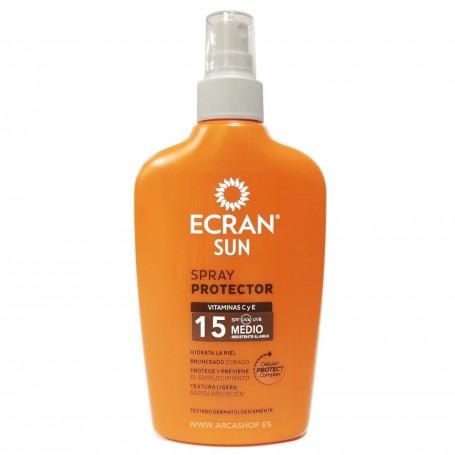 Spray Protector Solar Ecrain Sun SPF UVA UVB 15 Protección Media -  200 ml Vitamina C y E