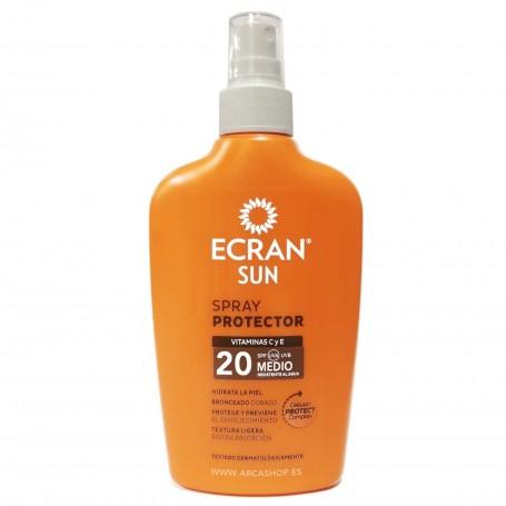 Spray Protector Solar Ecrain Sun SPF UVA UVB 20 Protección Media -  200 ml Vitamina C y E
