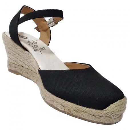 Zapatos Negros de Esparto con Cuña Flamenca Casori