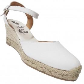 Zapatos de Esparto con Cuña Blancos Flamenca Casori