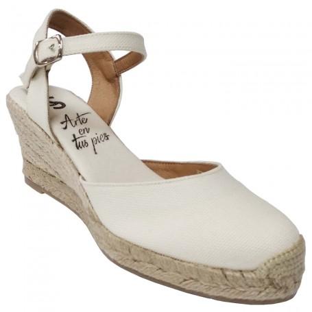 Zapatos de Esparto con Cuña Beige Flamenca Casori