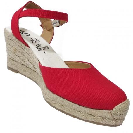 Zapatos de Esparto con Cuña Rojo Flamenca Casori