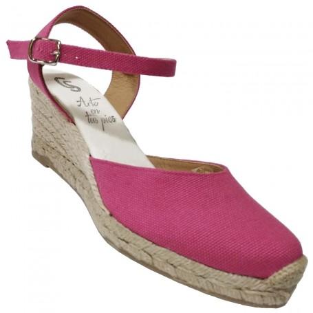 Zapatos de Esparto con Cuña Maquillaje buganvilla Flamenca Casori