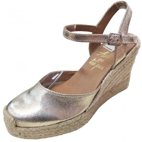 Zapatos de Esparto con Cuña Dorado Oro  Flamenca Casori