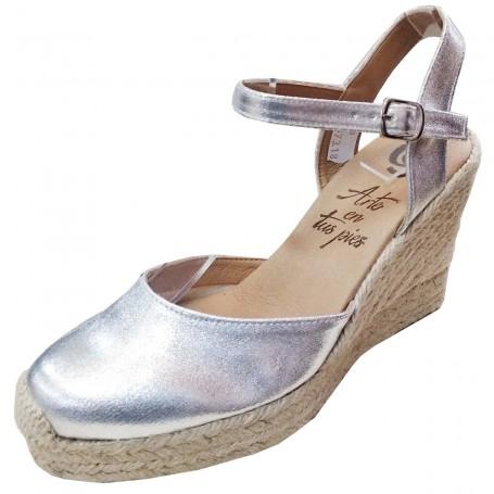 Zapatos de Esparto con Cuña Color Plata Flamenca Casori