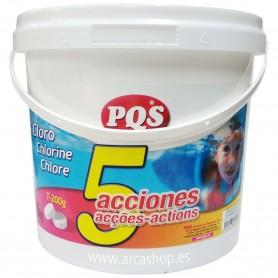 Cloro 5 Acciones PQS: desinfección, estabilizador de cloro, algicida, antihongos y floculante.