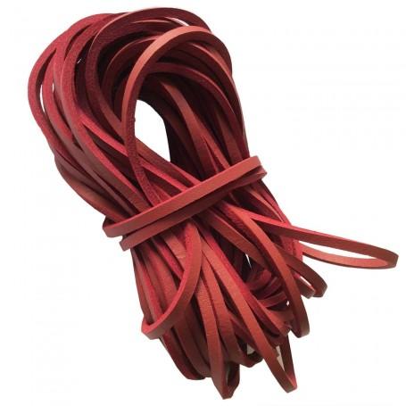 Cordón Náutico Cuero Zapatos Color Rojo