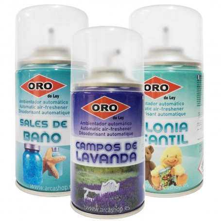 Ambientadores Spray para Difusor Automático Aromas Colonia infantil, Lavanda y Sales de Baño.
