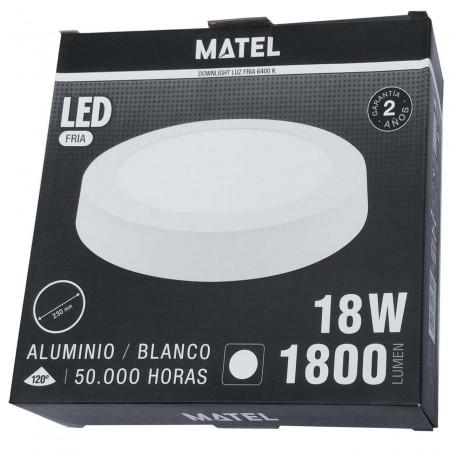 Plafón LED Techo/Pared Panel Circular Matel luz fría (luz blanca) 1800 Lumnes 18 W diámetro 23 cm