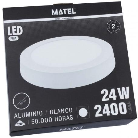 Plafón LED Techo/Pared Panel Circular Matel luz fría (luz blanca) 2400 Lumnes 24 W diámetro 30 cm