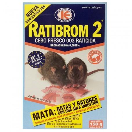 Mata Ratas y Ratones Ratibrom 2 Cebo Fresco Raticida