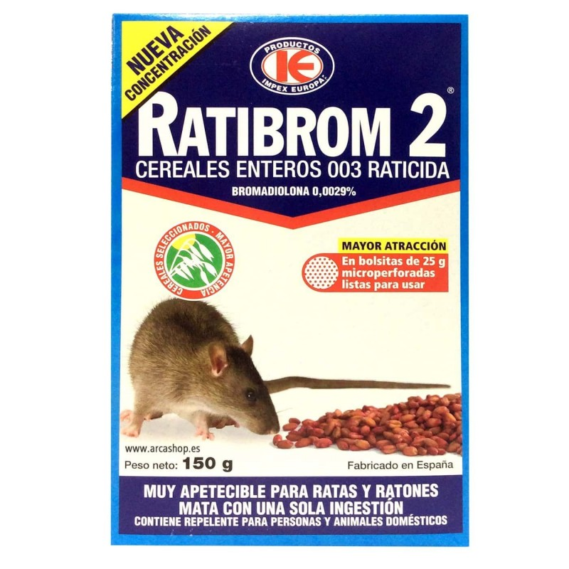 Raticida Ratas y Ratones Ratibrom 2 Cereales enteros