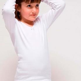 Camisetas interior manga larga Niña de 2 a 16 años en blanco. Rapife.