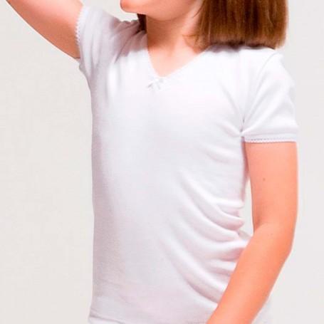 Camisetas interior manga corta Niña de 2 a 16 años en blanco. Rapife.