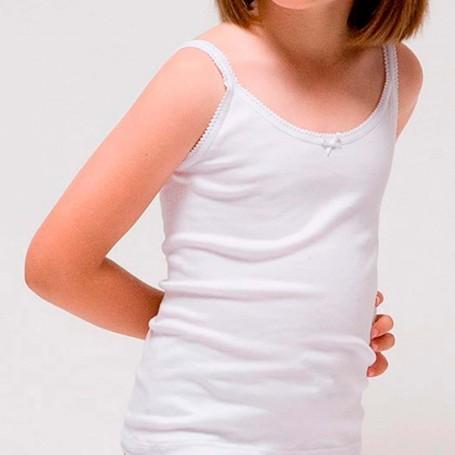 Camisetas interior tirantas Niña de 2 a 16 años en blanco. Rapife.