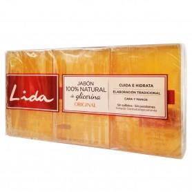 Pastilla jabón 100% Natural de Glicerina Original 3 x 125 grs.