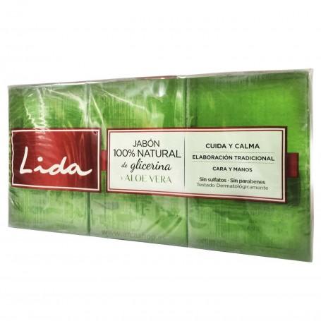 Pastilla jabón 100% Natural de Glicerina + Aloe Vera 3 x 125 grs.