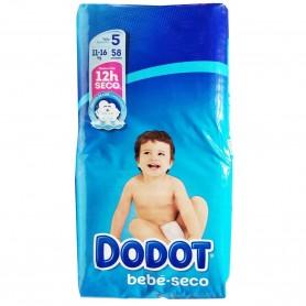 Pañales Dodot, talla 5, de 11 a 16 Kg Bebé Seco.