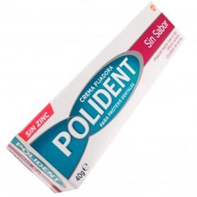 Polident crema fijadora sin zinc, sin sabor.
