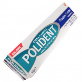 Polident crema fijadora sin zinc, fijación fuerte, el original.
