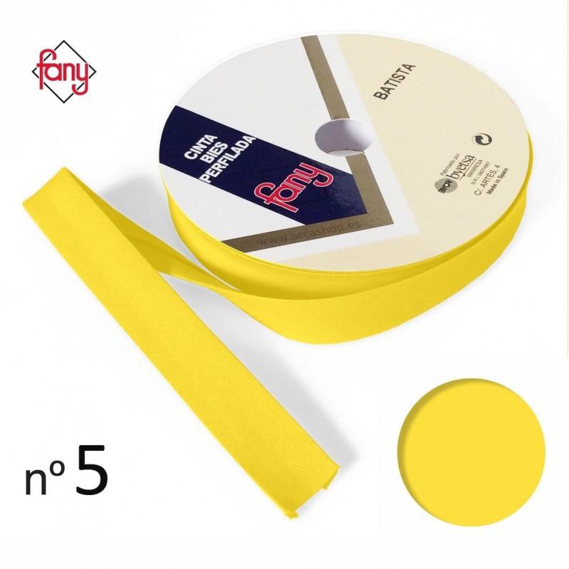 Amarillo, 18mm Spiral Cinta bies de poli/éster y algod/ón en Rollos de 25 Metros