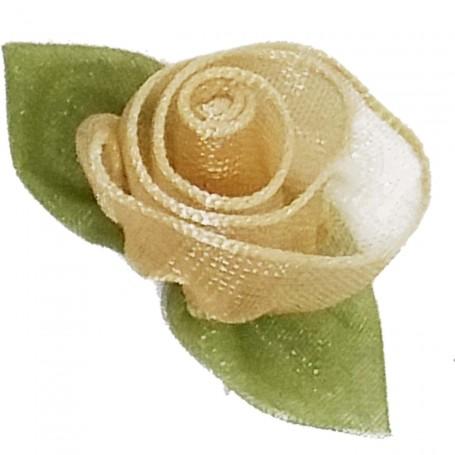 Flores Organza Beige Ocre Dorado