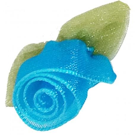 Flores Organza Azul turquesa