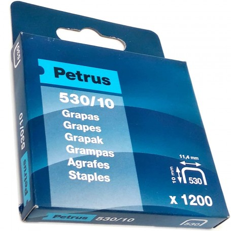 Grapas Petrus 530/10 mm Caja 1200 grapas