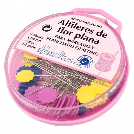 Cajita 60 Alfileres Flor Plana para Costura Marcado y planchado hemline